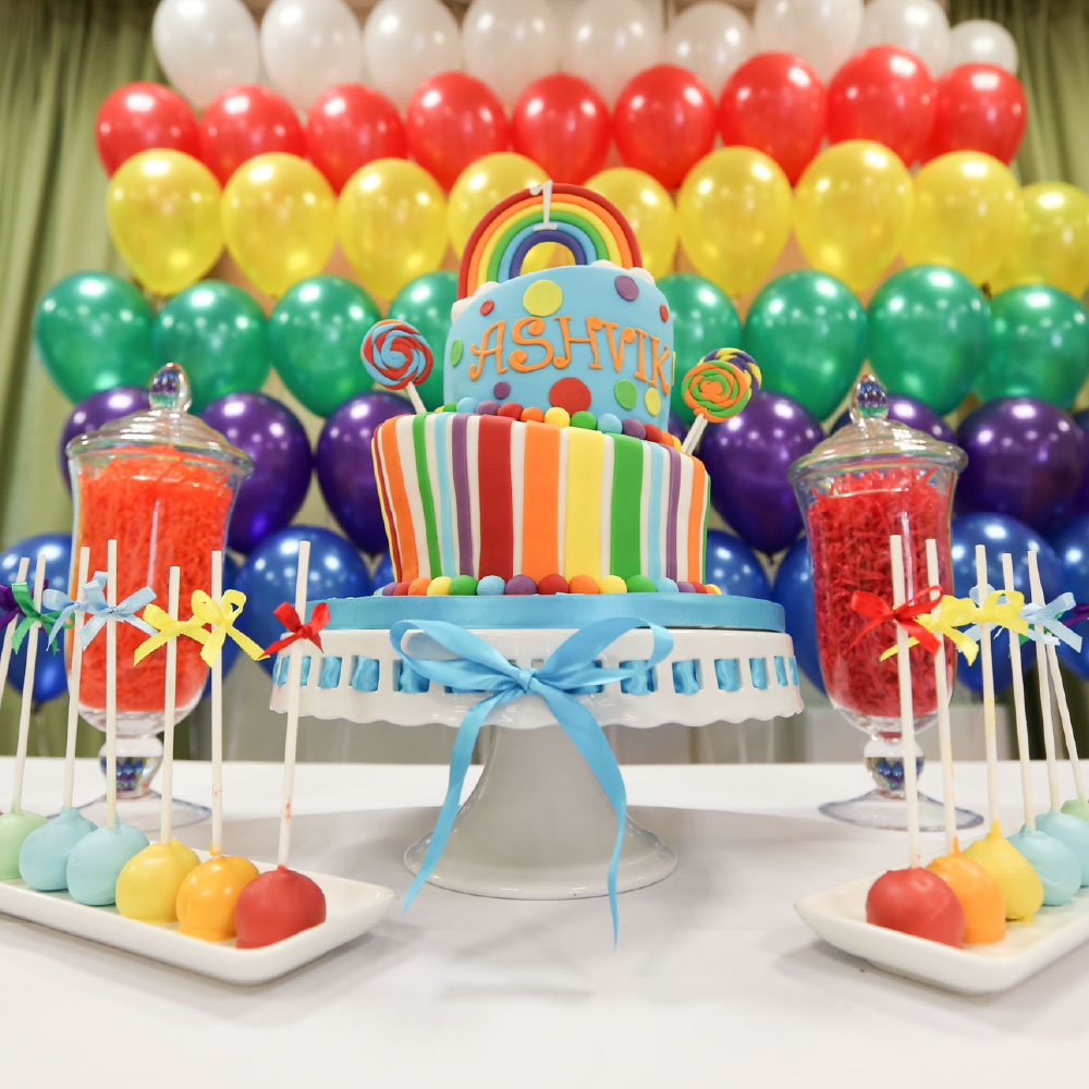 Rainbow cake and table