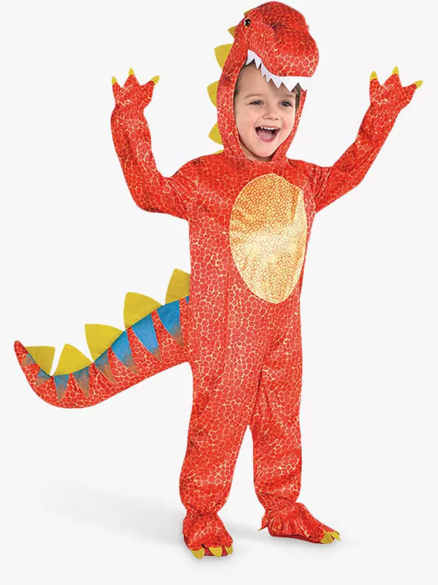 Child dressed up as a dinosaur for Halloween